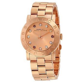 Marc By Marc Jacobs Amy Texter Rose Dial Rose Gold-Ton Damenuhr