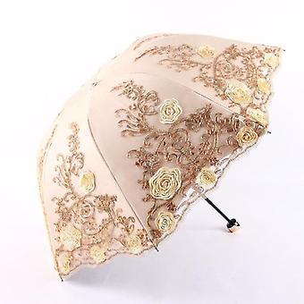 Spets vikbara kvinnor regn paraply (Yeoolw)