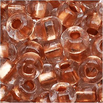 Czech Seed Beads 6/0 Clear Crystal Copper Foil Lined, 1 Onza