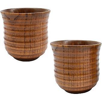 Wokex Holzbecher,2PCS Holztassen Set Natürlich Teetasse Retro für Kaffee Bier Tee Saft Frühstück