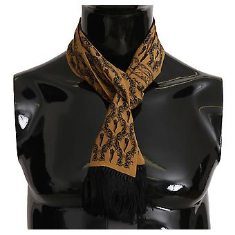 Yellow Printed Tassel Silk Wrap Scarf