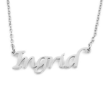 """L INGIRD - Adjustable necklace with custom name, silver tone, 16""""- 19"""