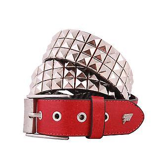 Lowlife Triple S besetzt Ledergürtel in rot und silber