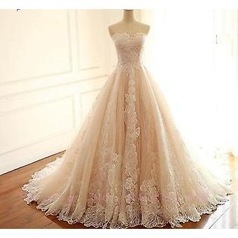 Waistline Embroidered Lace Strapless Wedding Dresses