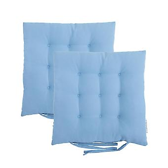 Turquoise 2pk Square Seat Pad Dining Room Garden Patio Tufted Padded Chair Cushion with Ties