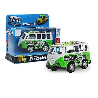 حافلة خضراء مصغرة سحب السيارة انزلاق سبيكة، نموذج سيارة محاكاة مع يمكن فتح الباب az9086