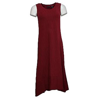 H von Halston Kleid XXS regelmäßige ärmellose Druck Hi-Low Saum Maxi rot A292238