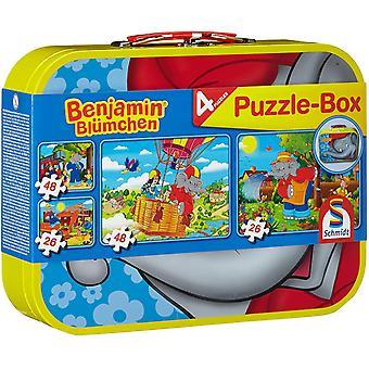 55594 Benjamin Blümchen, 4 Kinderpuzzle im Metallkoffer, 2x26 und 2x48 Teile