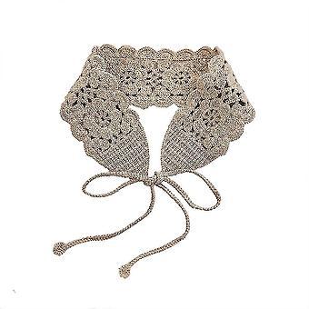Lace Half Shirts Embroidery False Collar Floral Frame Headband Detachable Blouse