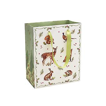 VIIMEISET - Keskikokoinen paperi lahjapussi - Joulu metsä - 23x19x10