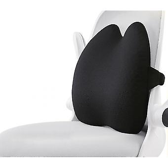 Oreiller de soutien lombaire, coussin arrière en mousse à mémoire pure pour siège d'auto (noir)