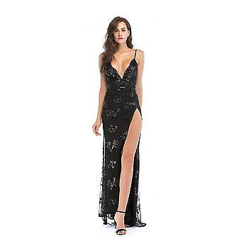 שמלת מקסי פרחונית סקסית לנשים ללא גב