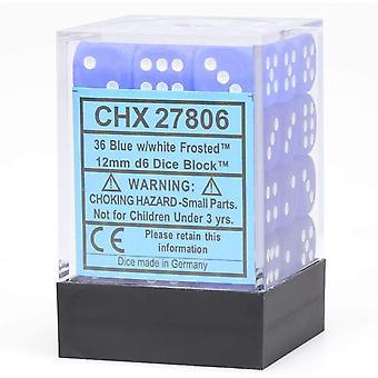 Chessex 12mm d6 Blok kości: Matowy niebieski / biały