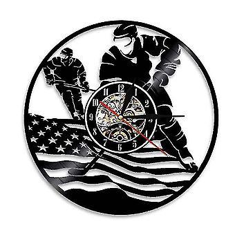 Bandera americana de vinilo record de reloj de pared