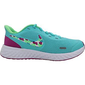 Nike Revolution 5 Aurora Green/Active Fuchsia/Astronomy Blue/Multi-Color CZ8116-300 Grade-School