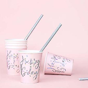 Pink Happy B'day Paper Party Cups x 6
