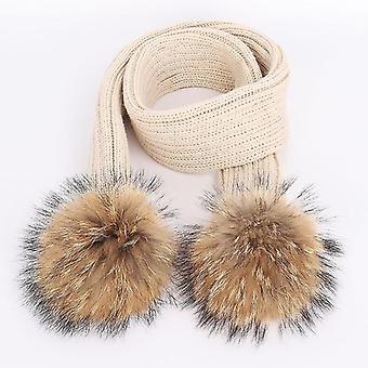 Cuteins Wasbeer Bont Pom Poms Knit Beanie Hoed & Sjaal
