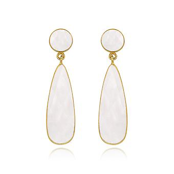ADEN Gold Plated 925 Sterling Silver Faceted Moonstone Earrings (id 6288)