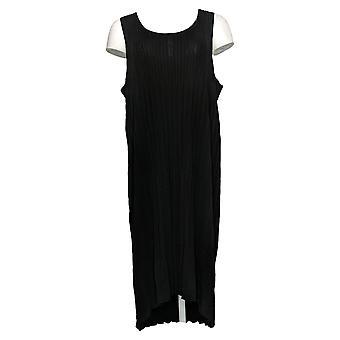 MarlaWynne Plus Robe Sans Manches Plissé Tricot Noir 655546