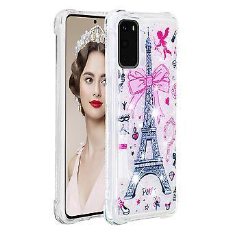 Case For Samsung Galaxy S20 Glitter Liquid Cute Clear Silicone Tpu Shockproof Cover - Eiffel