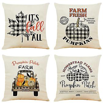 "Mile 4 Pieces Autumn Pillow Case, Thanksgiving Cotton Linen Sofa Bed Throw Cushion Cover Decoration (18""x 18"")"