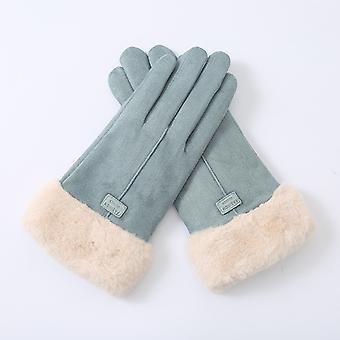 Neue Leder Samt Touchscreen Handschuhe Blau