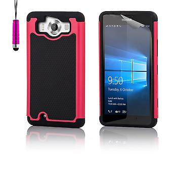 Shock proof case + penna för Microsoft Lumia 950 - Hot Pink