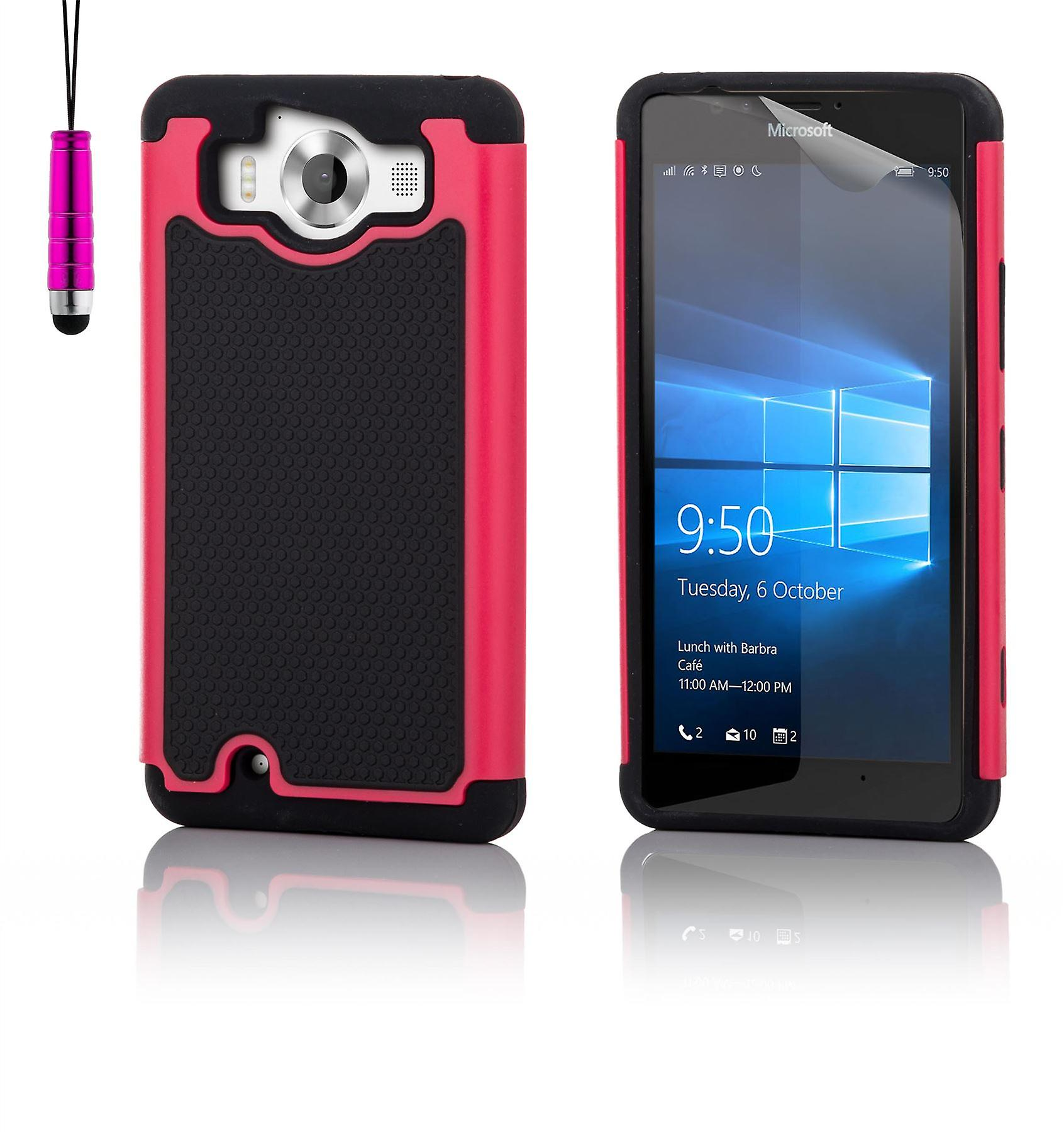 Shock proof case + stylus for Microsoft Lumia 950 - Hot Pink