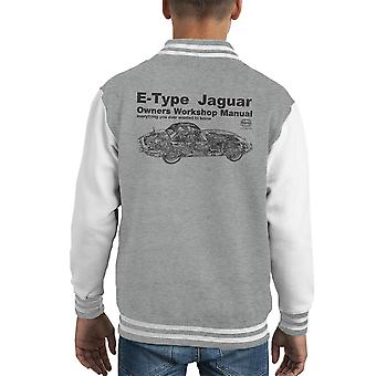 Haynes Owners Workshop Manual Jaguar E Type Black Kid's Varsity Jacket