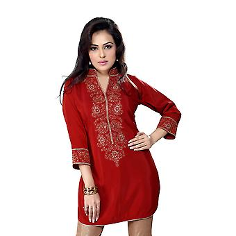 Rust Crepe Indian kurti / Tunic with  embroidery