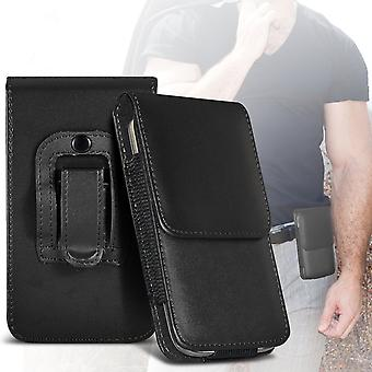 ONX3 (Black) Premium Vertical Faux Leather Belt Holster Pouch Cover Case With Magnetic Closure For Samsung Galaxy S8 Active