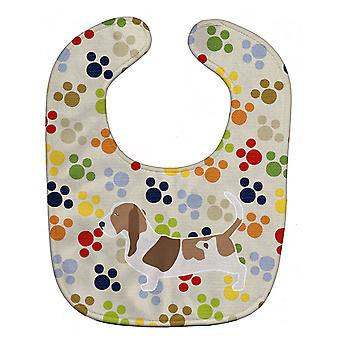 Carolines trésors BB6307BIB Basset Hound Pawprints Baby Bib