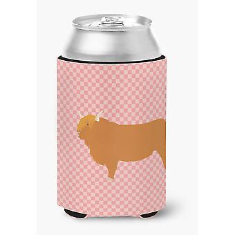 Carolines Treasures  BB7820CC Highland Cow Pink Check Can or Bottle Hugger