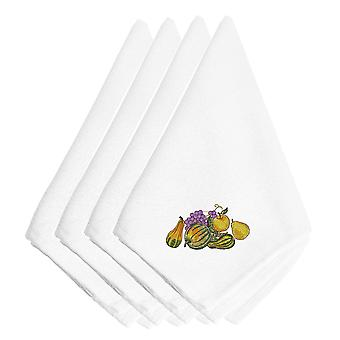 Thanksgiving Cluster Embroidered Napkins Set of 4