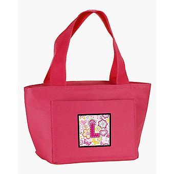 Letter L bloemen en vlinders roze lunchzak