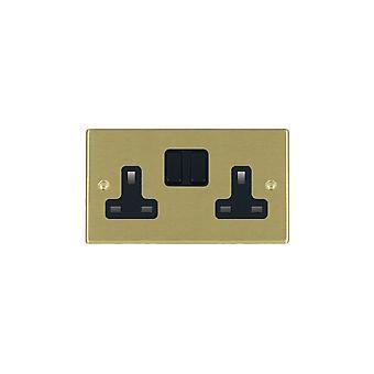 Hamilton Litestat Hartland Satin Brass 2g 13A DP Switched Socket BL/BL