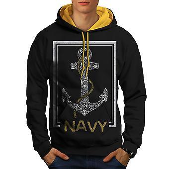 海軍アンカー海ビンテージ男性ブラック (ゴールド フード) コントラスト パーカー |Wellcoda
