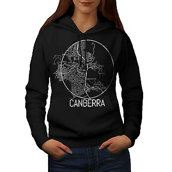 Canberra City Map Fashion Women BlackHoodie | Wellcoda