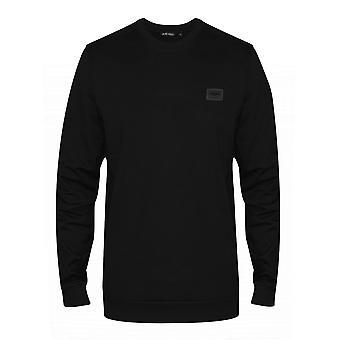 Antony Morato Black Plaque Logo Crew Neck Sweatshirt