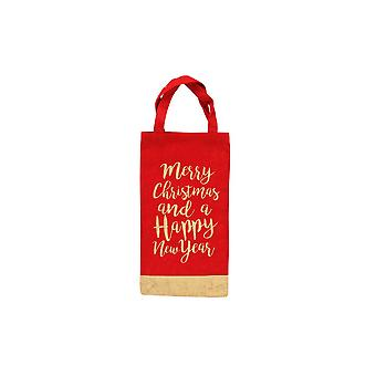 CGB Giftware Christmas Merry Christmas Happy New Year Bottle Bag