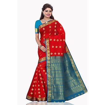 Khushi rød med blå kunst silke Sari Saree Bellydance Wrap