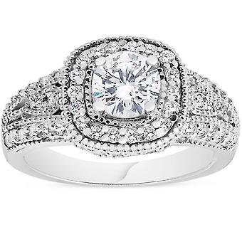 1 1 / 3ct Vintage Diamond Engagement Ring 14K White Gold