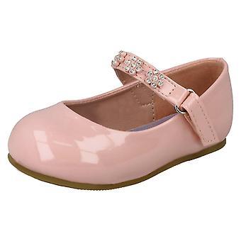 Girls Spot On Diamante Flower Strap Ballerinas H2487 - Pink Synthetic Patent - UK Size 9 - EU Size 26 - US Size 10