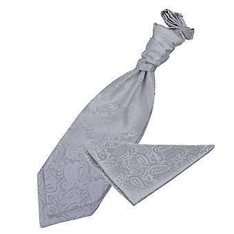Zilveren Paisley bruiloft Cravat & zak plein Set