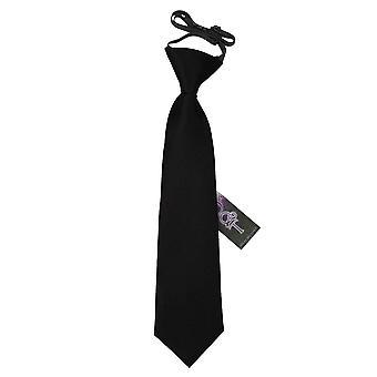 Plain Black Satin elastisch stropdas voor jongens