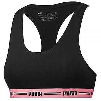 PUMA Women Cotton Modal Stretch Iconic Bralette, Black / Pink, X-Large