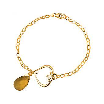 Femmes - bracelet - argent 925 - or plaqué citrine quartz - fleur de Lotus - - drop - GoldGoldgelb - YOGA