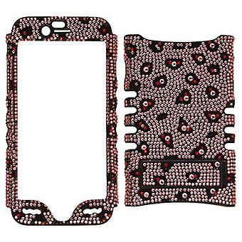 セルアーマー - アップルのiPhone 6用ロッカーシリーズスナップオンプロテクターケース - ピンクにフルダイヤモンドクリスタル/ヒョウプリント