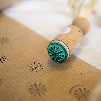 Christmas Snowflake Dotted Round Rubber Stamp - VERY MINI - Xmas Crafts