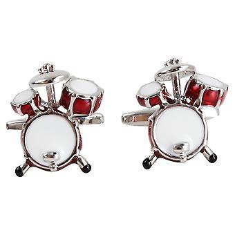 Boutons de manchettes Zennor tambour - rouge/argent
